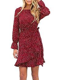 Women's Dress Polka Dot Print Long Sleeve Crewneck Fishtail Ruffle Hem Short Mini Dresses
