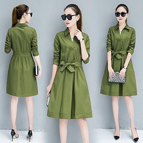 Robe Robes Frais Jupe M mare Une Vert MiGMV Militaire Long Girl Moyen Style g4AWc4ZTq