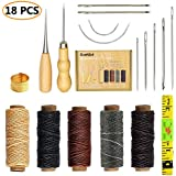 SIMPZIA 18 Pieces Leather Craft Tools with Hand Sewing Needles Drilling Awl Waxed Thread and Thimble for Leather Upholstery Carpet Canvas DIY Sewing