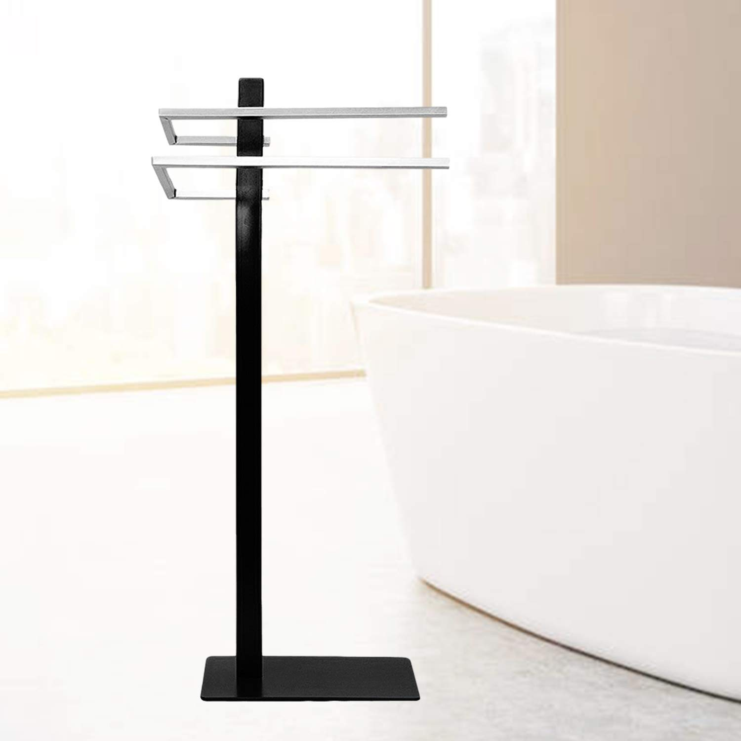 FOYUEE Free Standing Towel Rack for Bathroom Outdoor Pool Hand Beach Bath Shower Towels Stand Holder Metal Black by FOYUEE