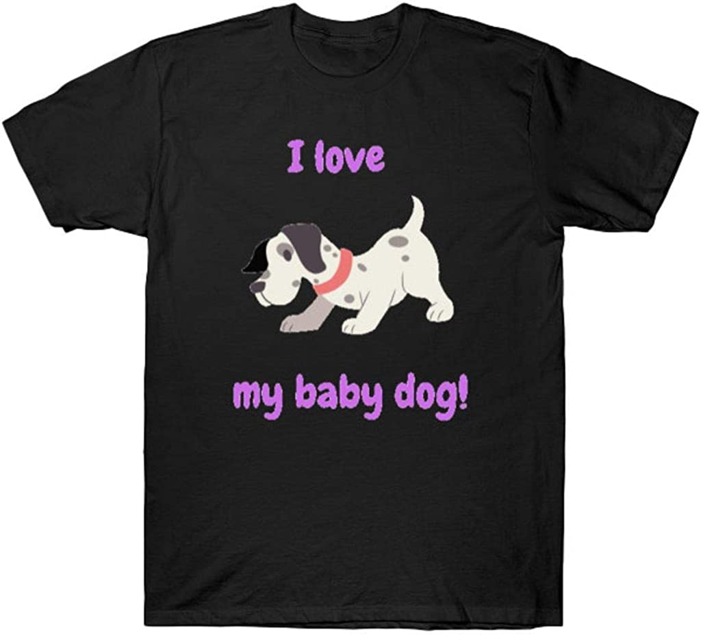 I Love My Baby Dog T Shirt Black