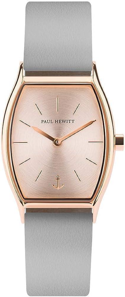 PAUL HEWITT Reloj de muñeca para Mujer en Acero Inoxidable Modern Edge Rose Sunray - Reloj de Pulsera Plateado con Correa de Cuero en Color Gris Grafito, Reloj de Cuero para Mujer