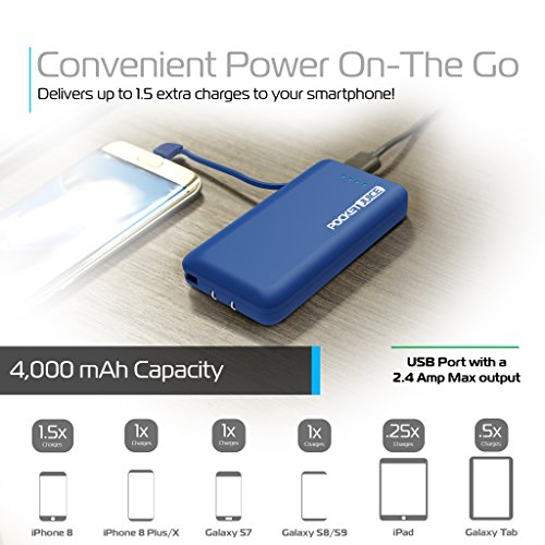 Tzumi PocketJuice Endurance AC - Mini Portable Smart Device Battery Pack Charger - 4,000 mAh High-Speed Single USB Port - Works With All iPhone And Android Devices & Includes Micro USB Cable - Blue by Tzumi (Image #1)