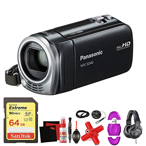 Panasonic HDC-SD40 High Definition Camcorder (Black) -Mega Accessory Bundle - with Memory Card (Sd40 Panasonic)