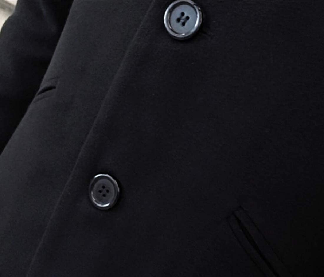 M/&S/&W Mens Winter Stand Collar Single Breasted Coat Woolen Overcoat