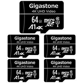 Gigastone 64GB 5-Pack Micro SD Card, 4K UHD Video, Surveillance Security Cam Action Camera Drone Professional, 90MB/s Micro SDXC UHS-I A1 Class 10