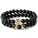 Joya Gift Black Round 8mm Beads Bracelet Set for Men Crown Tiger Head Charm Handmade Jewelry
