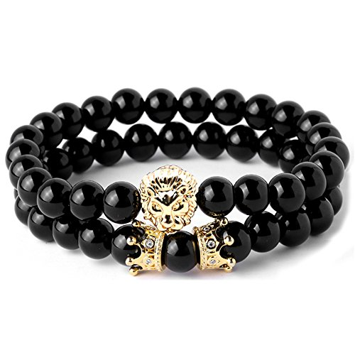 (Joya Gift Black Round 8mm Beads Bracelet Set for Men Crown Tiger Head Charm Handmade Jewelry)