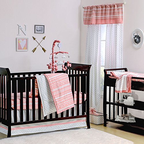 Coral Pink Tribal Print Geometric 4 Piece Crib Bedding Set b