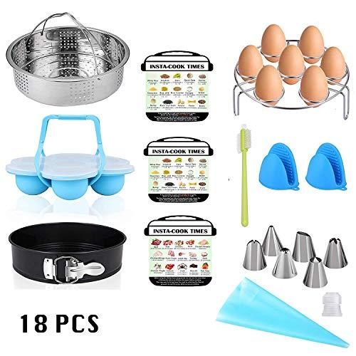 MAXROCK 18-Piece Steamer Accessories Set Combo Kit for Instant Pot 5/6/8 QT, Steamer Basket, Egg Bites Molds, Springform Pan, Egg Rack Trivet, Silicone Mitts, Piping Kit, Cheat Sheet Magnets
