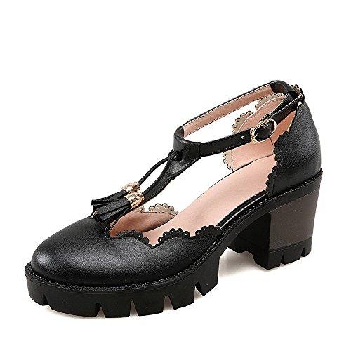 Allhqfashion Dames Ronde Dichte Neus Hoge Hakken Stevige Gesp Pumps-schoenen Zwart