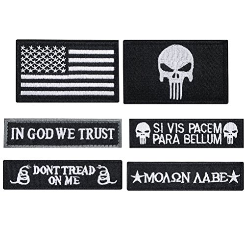 Bundle 6 Pieces Tactical Military Morale Patch Set (Black) (1 Velcro Patch)