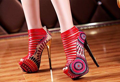 Littleboutique Modetijdschriftshow Stiletto Sandalen Hakken Nigh Club Strap Pumps Jurk Platforms Prom Pumps Schoenen Rood