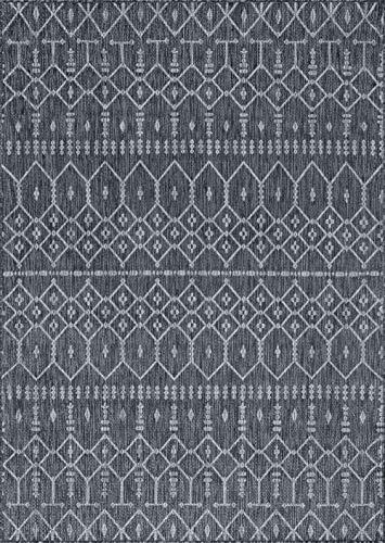 (Tayse Evka Contemporary Geometric Charcoal Rectangle Area Rug, 9' x 12')