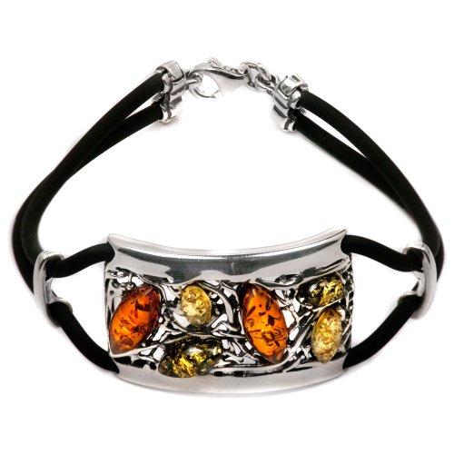 Sterling Silver Multicolored Amber Rubber Antique Look Bracelet 7.5 (Spider Bracelet Halloween Craft)
