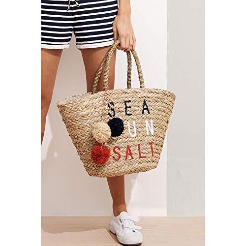 Summer Vacanza Tote Ricamo Elegante Per Paglia Borsa Spiaggia Donne Tessuta Sling Bag Ragazze Le Intrecciata rvvwXZPq