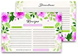 Pack of 50 Double-Sided Watercolor Flowers Recipe Cards + Set of 50 clear plastic recipe card covers + Digital Recipe Guidebook by The Kitty Chef