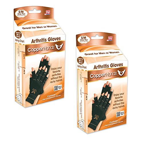 Copper Hands Fingerless Compression Gloves by BulbHead, Provides Relief from Joint, Tendon, & Muscle Pain (2 Pack) by Copper Hands