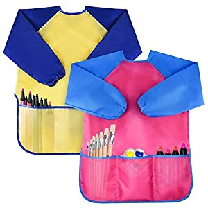 Bassion Pack of 2 Kids Art Smocks, Children Waterproof Artist Painting Aprons Long Sleeve with 3 Pockets for Age 2-6 Years by