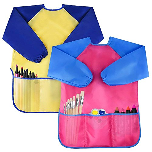 Bassion Pack of 2 Kids Art Smocks, Children Waterproof Artist Painting Aprons Long Sleeve with 3 Pockets for Age 2-6 Years ()