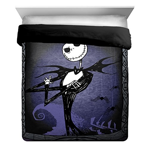 - Disney Nightmare Before Christmas Misfit Love Full/Queen Comforter - Super Soft Kids Reversible Bedding features Jack Skellington - Fade Resistant Polyester Microfiber Fill (Official Disney Product)