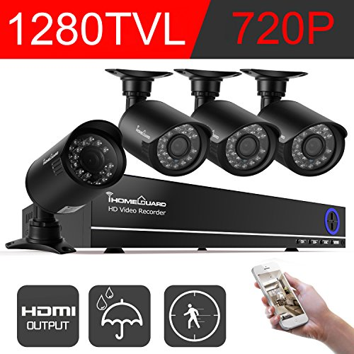 IHOMEGUARD 720P 4 channel Dvr Security Camera System,4x Surveillance Weatherproof Outdoor/Indoor 1280TVL Camera Kit, Motion Detection,Email Alert, IR Night Vision 65FT -no Hard Drive No Wireless