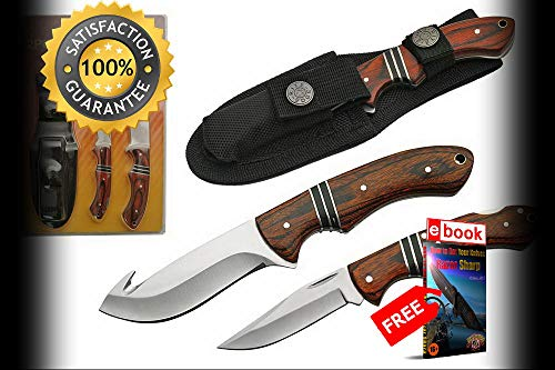 FIXED BLADE HUNTING SHARP KNIFE SET 2-Piece Wood Guthook Skinning Blade Gift 211366 Combat Tactical Knife + eBOOK by Moon Knives