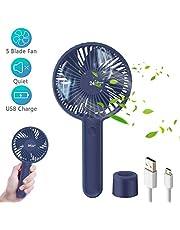 TedGem USB Fan, Mini Fan Handheld Portable Fan Desk Fan, Mini USB Fan with 2000mA Battery, Rechargeable Battery Powered Fan, Hand Held Fan with Base for Home/Office/Outdoor Travel (3 Speed)