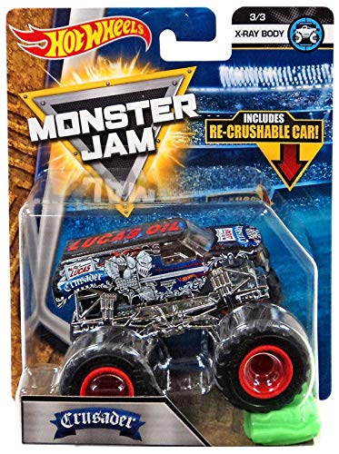 Hot Wheels Monster Jam Lucas Oil Crusader X-Ray Body 1:64 Scale Truck with Re-crushable Car