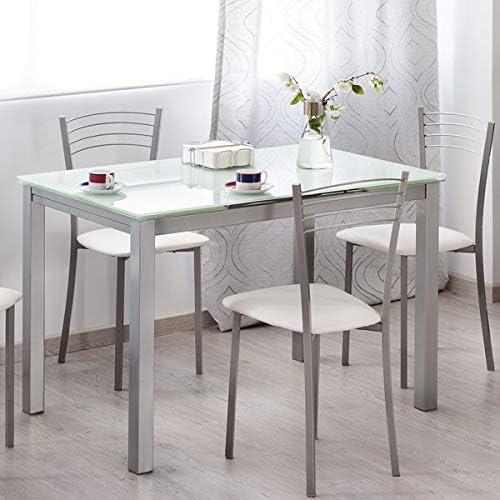 MerkaHome - Mesa Cocina Extensible DE Cristal 110X70 CM Estocolmo ...