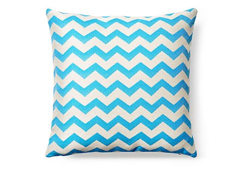Cheap Rennie & Rose Outdoor/Indoor Fabrics Chevron Outdoor Stuffed Pillow, 18-Inch, Surf Blue