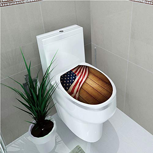 Toilet Applique,American Flag Decor,USA Design on Vertical Lined Retro Wooden Rustic Back Glory Country Image,Blue Red,Custom Sticker,W12.6