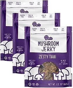 Pan's Mushroom Jerky - Zesty Thai | 2.2oz, 3 count | Shiitake Mushroom Snack, Vegan, Plant-Based, Gluten-Free