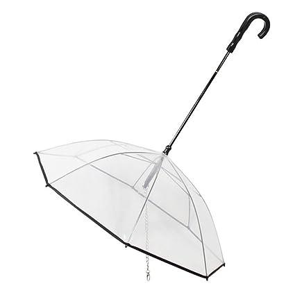 Crewell - Paraguas Transparente para Mascotas con Correa Extra Larga, Mango Fuerte premontado para Perros
