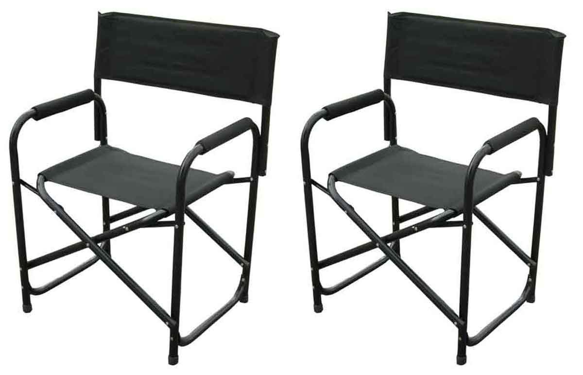 Black Set of 2 Chairs Impact Canopy Standard Folding Directors Chair Heavy Duty