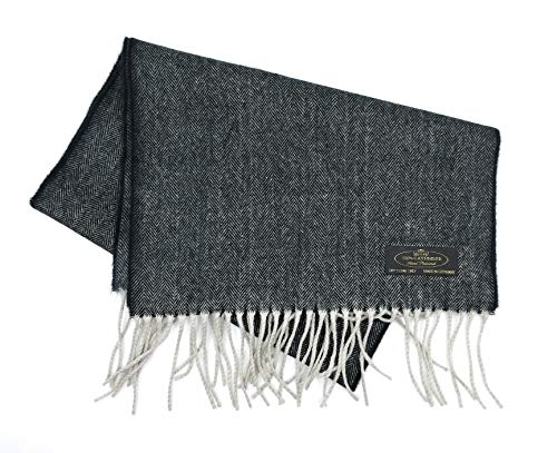 100% Cashmere Wool Scarf Packaged in a Colorful Natural Jute Gift Pouch (Charcoal Tweed) (Tweed Cashmere)
