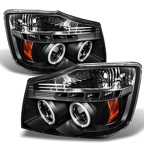 Nissan Titan Armanda Black Bezel CCFL Halo Projector LED Headlights Front Lamps Replacement (Ccfl Halo Projector Headlights Lamps)