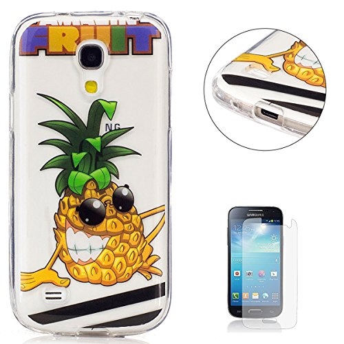 ni i9190 Transparent case [with Free Screen Protector],KaseHom TPU Gel Protective Skin Shockproof Soft Rubber Bumper Pineapple Cartoon Design Clear Silicone Cover ()