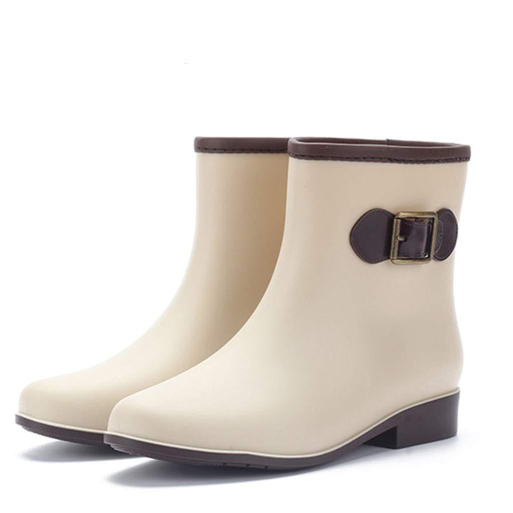 Dreamyth-Shoes Women Low-Heeled Buckle Round Toe Shoe Waterproof Middle Tube Rain Boots