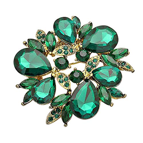Rosemarie Collections Women's Sparkling Rhinestone Wreath Statement Brooch Pin (Emerald Color) ()