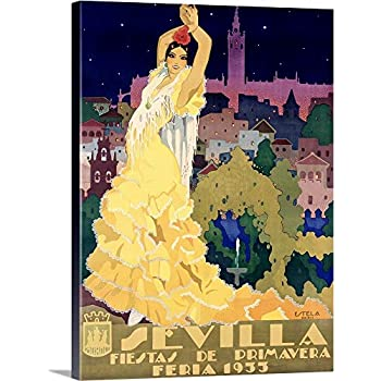 Premium Thick-Wrap Canvas Wall Art Print Entitled 1933 Sevilla Fiesta Vintage Advertising Poster 18