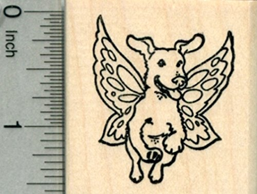 Labrador Retriever Rubber Stamp, Dog with Fairy Wings