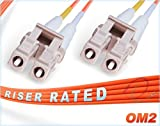 70M OM2 LC LC Fiber Patch Cable | Duplex 50/125 LC to LC Multimode Jumper 70 Meter (229.65ft) | Length Options: 0.5M-300M | FiberCablesDirect | Alt: ofnr lc-lc mmf optic patch-cord lc/lc zip-cord dx