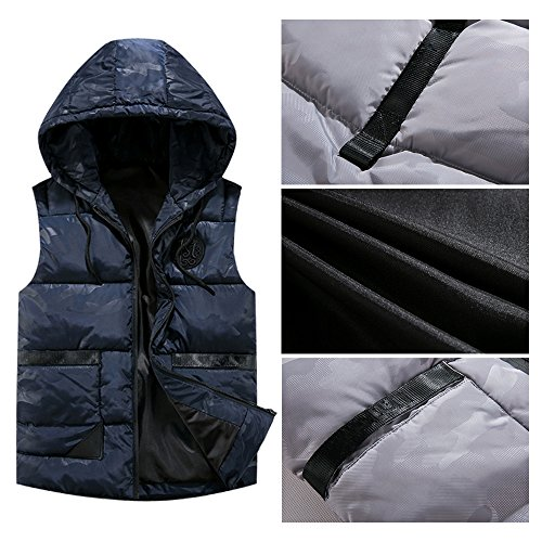 Outwear Vest Hooded Zipper Down BOZEVON Sleeveless Down Autumn Winter Blue Jacket amp; Waterproof Deep Coat Mens Windproof H4UzAw
