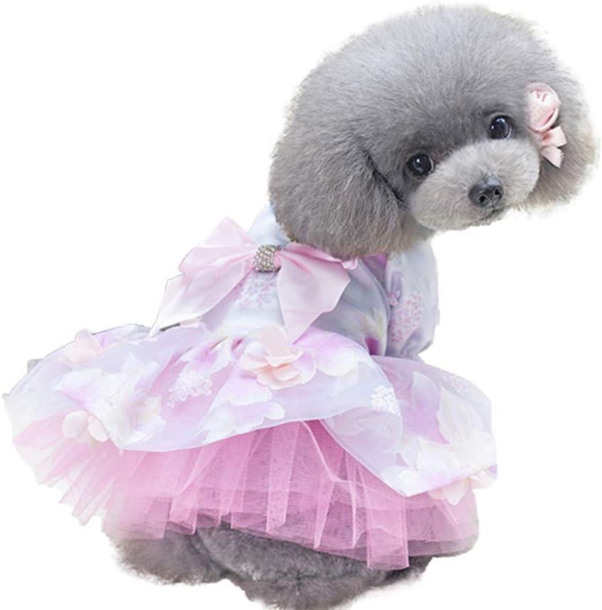 Vestidos de Perros YEZIA Pijama para Perros Patrón de Flores Adorable Ropa para Mascotas Ropa de Mono Abrigo de Gato de Algodón Suave Ropa para Perro Gato Pequeño