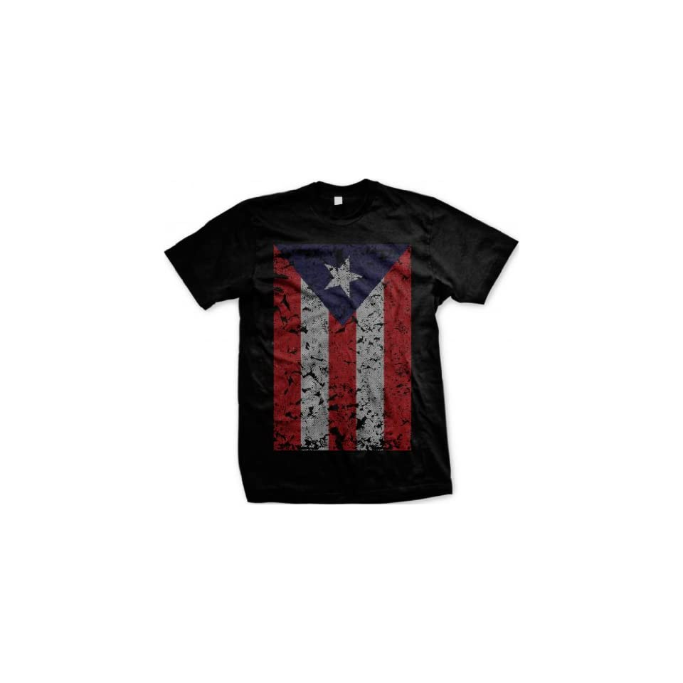Oversized Puerto Rican Flag Men's T shirt, Boricuan Pride Big Distressed Puerto Rico Flag Design Men's Tee Clothing
