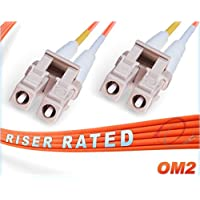 100M OM2 LC LC Fiber Patch Cable | Duplex 50/125 LC to LC Multimode Jumper 100 Meter (328ft) | Length Options: 0.5M-300M | FiberCablesDirect | Alt: ofnr lc-lc mmf optic patch-cord lc/lc zip-cord dx
