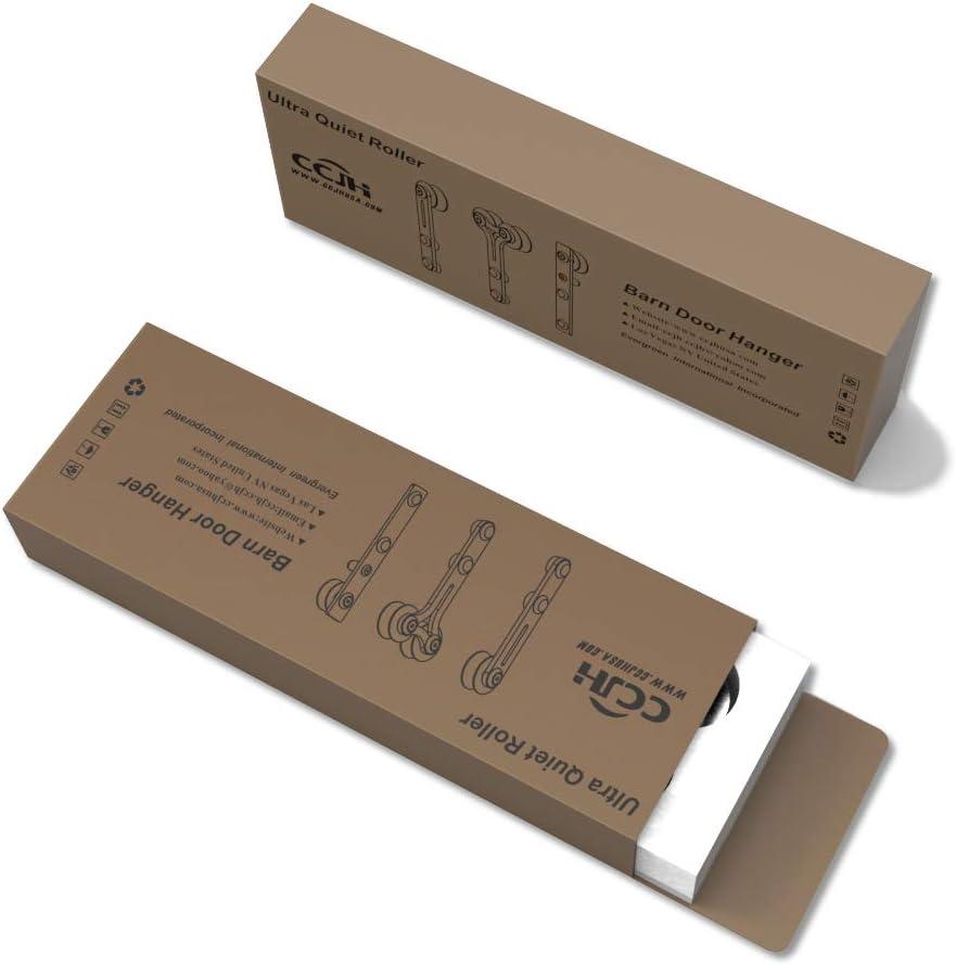 CCJH 4FT-122cm Acier Inoxydable Quincaillerie Kit de Rail Roulette pour Porte Coulissante Ensemble Industriel Hardware kit pour Une Porte Suspendue en Bois