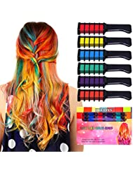 Kyerivs Hair Chalk Comb Temporary Hair Color Dye For Kid Girls Party and Cosplay DIY Festival Dress up Works on All Hair Colors Washable Christmas Gift Black Handle Mini 6PCS