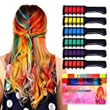 #2: Kyerivs Hair Chalk Comb Temporary Hair Color Dye For Kid Girls Party and Cosplay DIY Festival Dress up Works on All Hair Colors Washable Black Handle Mini 6PCS